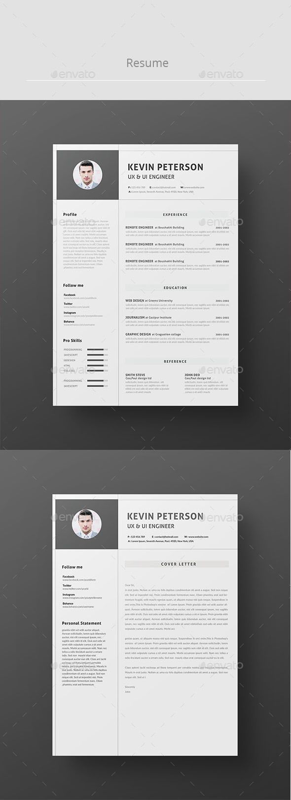 121 best Resumes CV images on Pinterest | Resume design, Resume ...