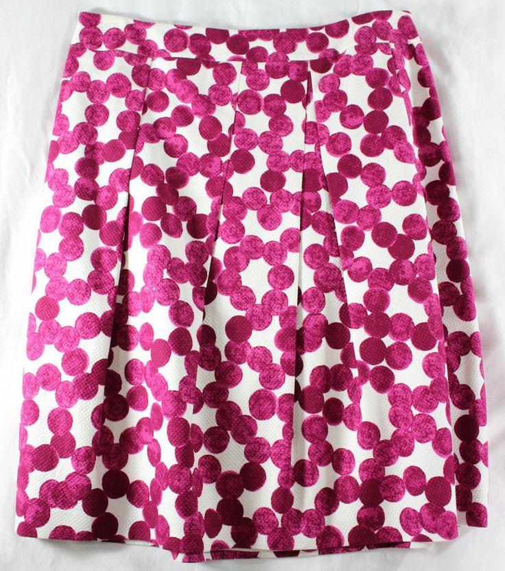 ~~ LOVE THE PRINT ~~ AMAZING AKRIS HAND STAMPED FUCHSIA & WHITE DOT SKIRT ~ F44 #Fashion #Style #Deal