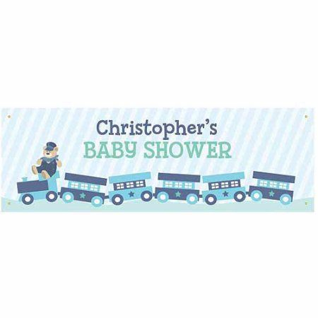 Personalized Choo Choo Train Baby Shower Banner, Multicolor