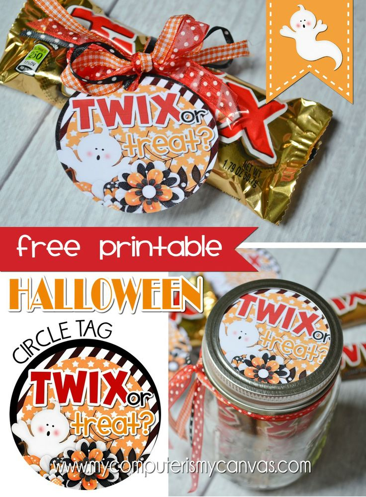 Free Printable Halloween Tag/Favor - Twix or Treat!  Can be used as a mason jar lid topper too... #mycomputerismycanvas
