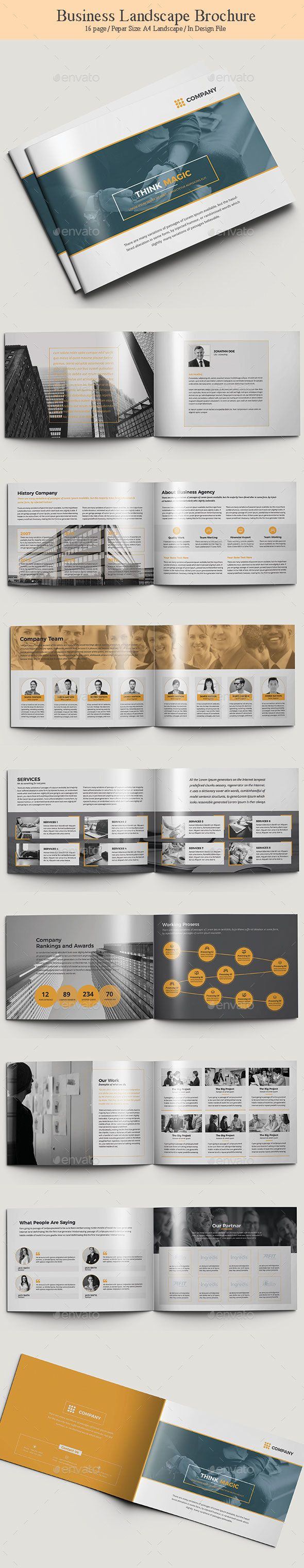 Landscape Brochure Template InDesign INDD - 16 Unique Pages