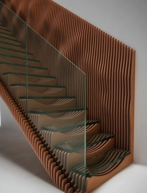 EeStairs latest concept design, Slice, featuring glass treads and a TransParancy balustrade.