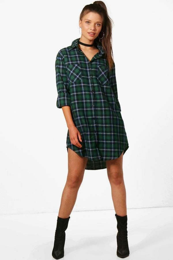 boohoo Sally Studded Collar Shirt Dress