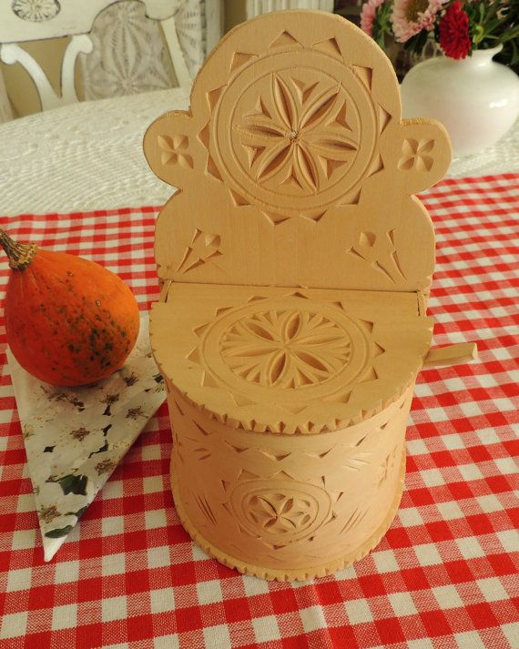 Rustic Wooden Carved Salt Cellar Wood Carving Kitchen