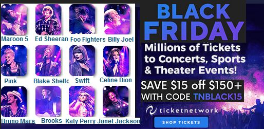 #BLACKFRIDAY!!... #CONCERTS TICKETS, SPORTS & THEATER EVENTS! SAVE 15% OFF $150+ WITH CODE Discount Available for Beatles Magazine members & readers ENTER HERE!: https://www.ticketnetwork.com/default.aspx?utm_medium=aff&utm_source=ir&utm_campaign=392945&xtor=AL-144-%5Bir%5D-%5B392945%5D