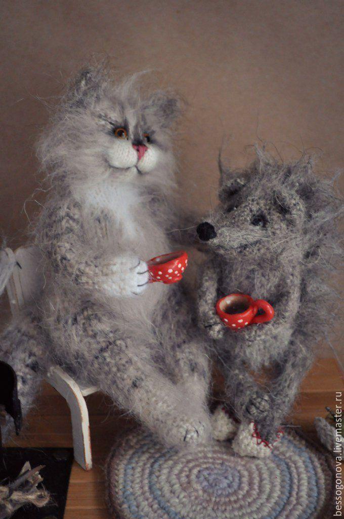 Купить В гостях у друга Ежика - кот, котик, коты, игрушка кот, игрушка котик