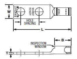 Panduit LCD6-14A-L Code Conductor Lug, Two Hole, Standard