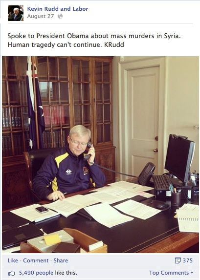 Then Prime Minister Kevin Rudd on the phone to Obama discussing Syria