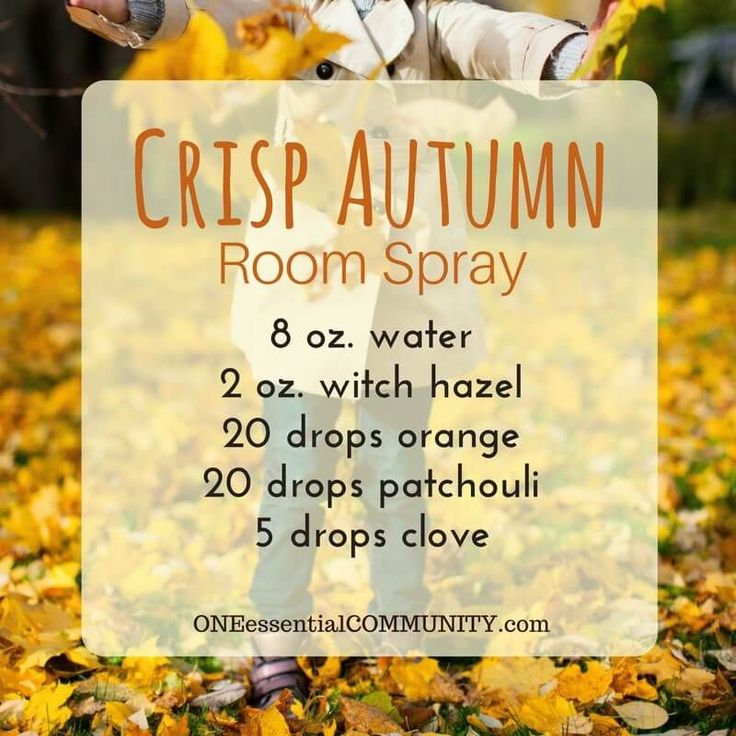 recipes for 20 fall room sprays-- made with essential oils for an easy, non-toxic way to make your home smell like fall