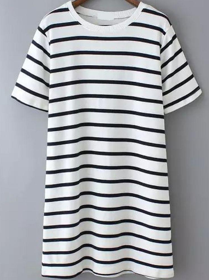 Striped Long White T-shirt