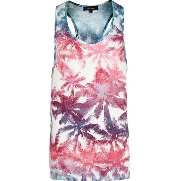 River Island White palm tree vest ($9.23) ❤ liked on Polyvore featuring men's fashion, men's clothing, men's outerwear, men's vests, vests, mens tall vest, mens sleeveless vest, mens cotton vest, mens white vest and mens vest outerwear