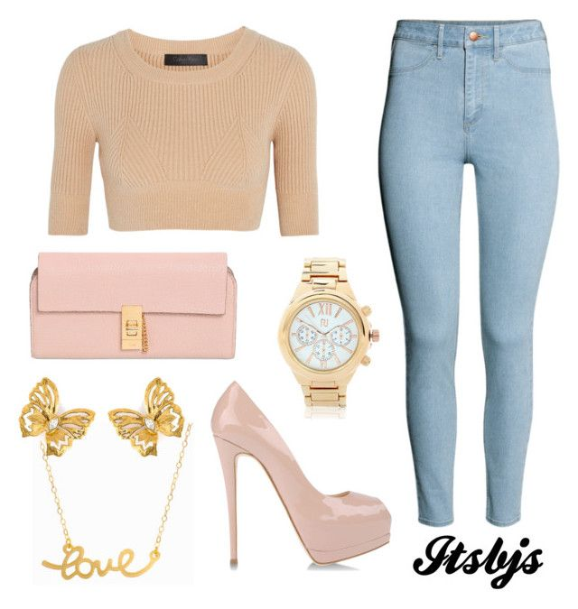 Beige/jean/pink/gold/pretty by itsbjs on Polyvore featuring polyvore, fashion, style, Calvin Klein Collection, H&M, Giuseppe Zanotti, Chloé, Minnie Grace, River Island and Yves Saint Laurent