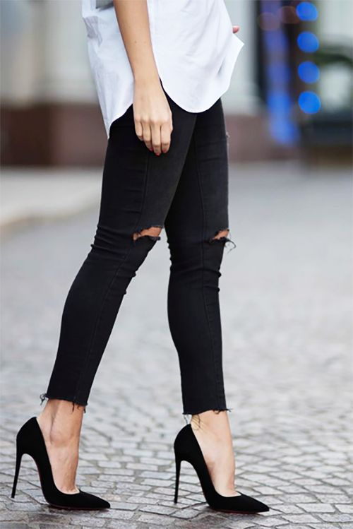 25 best ideas about black pumps outfit on pinterest jean shirt outfits white jacket outfit. Black Bedroom Furniture Sets. Home Design Ideas