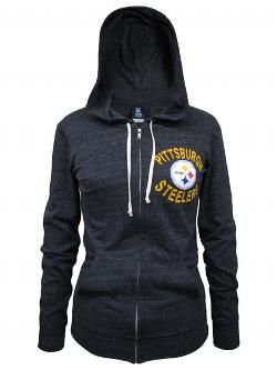 Pittsburgh Steelers Women's Flocked Full Zip Tri-Blend Hooded Top - Official Online Store