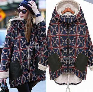 $49.99 Winter fashion women's thermal plus velvet hooded personality plaid wadded jacket plus size long design cotton-padded