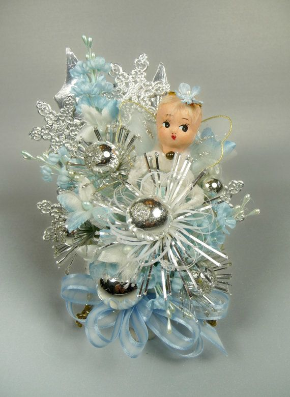 Christmas Corsage Vintage Angel Pale Blue Silver Ice by meaicp
