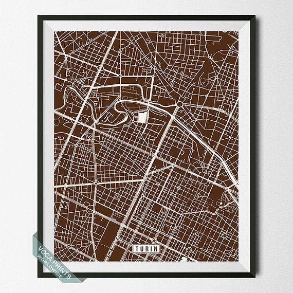 Turin Print Italy Poster Turin Poster Turin Map by VocaPrints