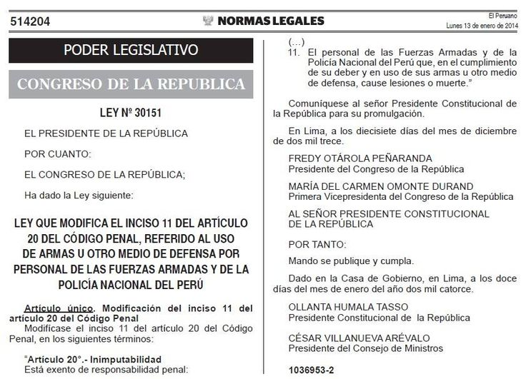 """José Pablo Baraybar habla sobre la polémica ley 30151 que declara inimputables a los miembros de las Fuerzas Armadas y de la Policía Nacional del Perú que causen lesiones o muertes """"en el cumplimiento de su deber"""""""