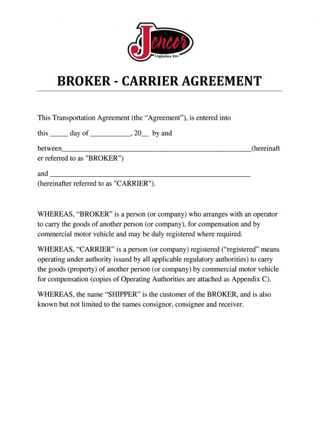 Get Our Image Of Freight Broker Agent Agreement Template Agreement Brokers Templates