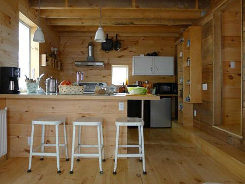 loving this house!: Wood Interiors, Barns Houses, Considered Living, Cabins Kitchens, Simple Kitchens, Wood Kitchens, Kitchens Islands, Cabins Fever, Wel Kitchens Belfast Maine