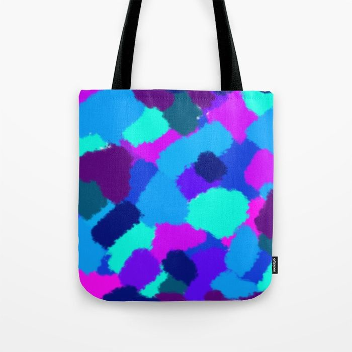 Tote bag Abstract design with bright brush strokes. Cold colours. digital, sponge, brush, pattern, pop-art, artwork, multicoloured, colourful, bright, cold, colours, cool, blue, pink, purple, cyan, strokes, abstract, society6 #artwork #abstract #bright #coldcolours #society6 #totebag
