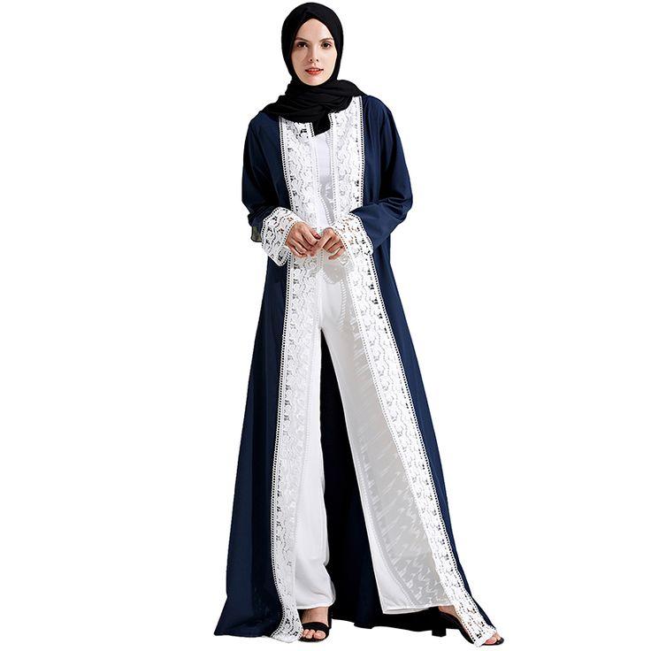 Babalet Womens' Elegant Modest Muslim Islamic Clothing Long Sleeve Full Length Lace Splicing Solid Dubai Abaya Dress with Belt #Islamic clothing http://www.ku-ki-shop.com/shop/islamic-clothing/babalet-womens-elegant-modest-muslim-islamic-clothing-long-sleeve-full-length-lace-splicing-solid-dubai-abaya-dress-with-belt/