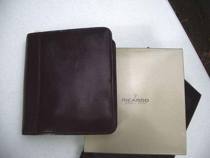 PDA Case Organizer Mini Briefcase Wallet Ricardo Beverly Hills Leather Brown NIB #RicardoofBeverlyHills