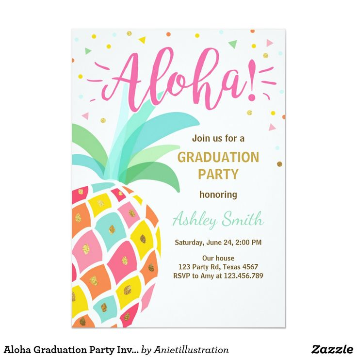 Aloha Graduation Party Invitation Pineapple Hawaii