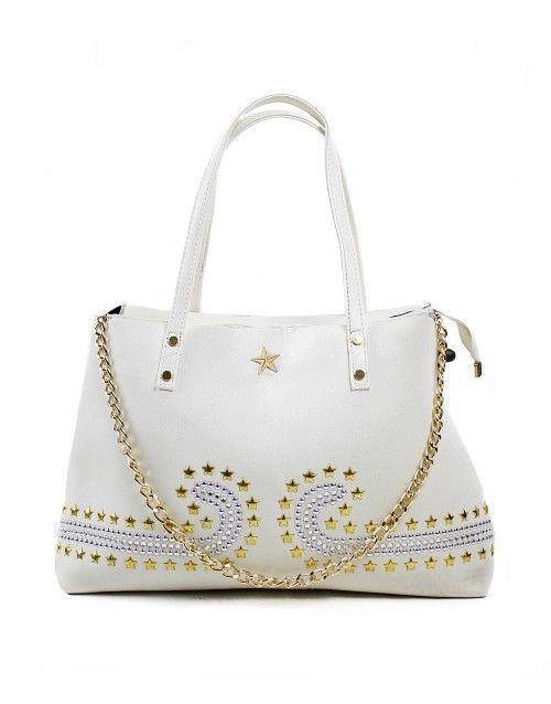 Τσάντα ώμου μεγάλη stars - Λευκό 39,99 €