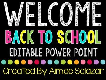 Back to school time is a crazy, hectic time of year.  Some schools require their teachers to give a presentation at Back to School Night (or Open House, and so forth).  This free download includes seven simple, editable slides that you can use to create your own presentation for these types of events.The images are locked down on each slide per the terms of use of the graphic artists, but you are able to edit the text.