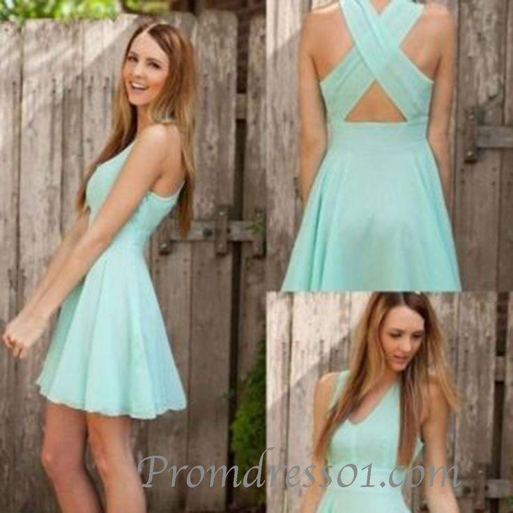 #promdress01 prom dresses - 2015 cute blue chiffon cross back short prom dress for teens, party dress