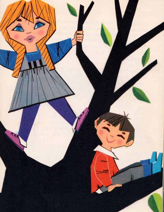 """The Selfish Giant by Oscar Wilde, retold by Eve Rouke, illustrated by Pablo Ramirez.  Book from """"The Holly Story Book Library"""", published by The World Publishing Company in1965."""