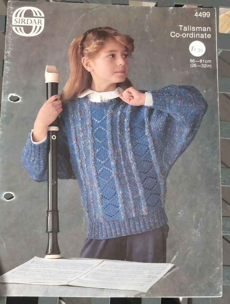 Girls Sideways Knit Sweater Sirdar 4499 knitting pattern DK yarn #Sirdar