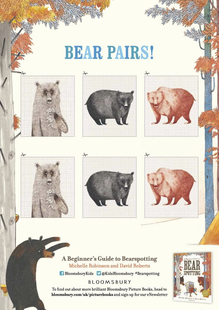 Bear Pairs 2/2 - from 'A Beginner's Guide to Bear Spotting', Michelle Robinson & David Roberts, Bloomsbury 2016.