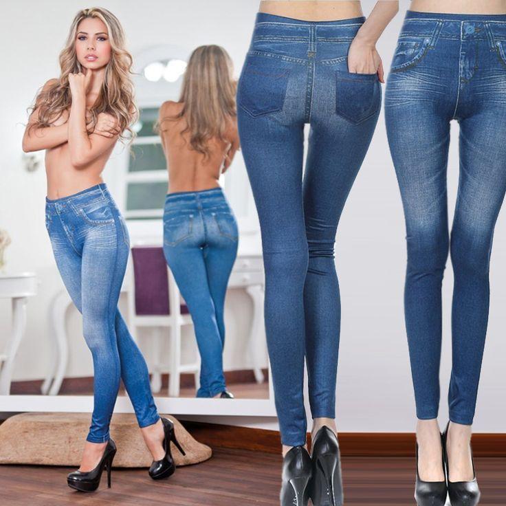 2017 Fashion Leggings Jeans for Women Denim Pants with Pocket Slim Leggings Fitness Plus Size Leggings S-XXL Black/Gray/Blue