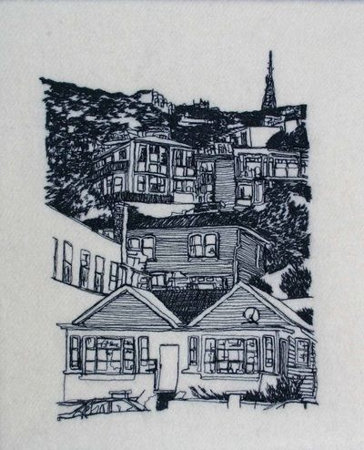 Textile art by Katherine Bertram, oriental parade, looking up to roseneath wellington. Freehand machine embroidery.