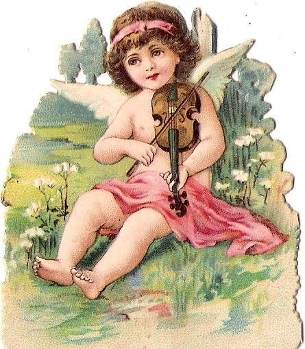 Oblaten Glanzbild scrap die cut chromo  Engel angel Amor Elfe elf Geige Violin
