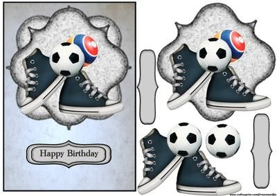 Birthday Boy Sneakers on Craftsuprint designed by Marijke Kok - A great design for a (little) boy's birthday - Now available for download!