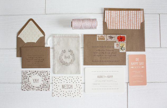 natural, rustic and artful farm wedding invitation suite // aucala.com