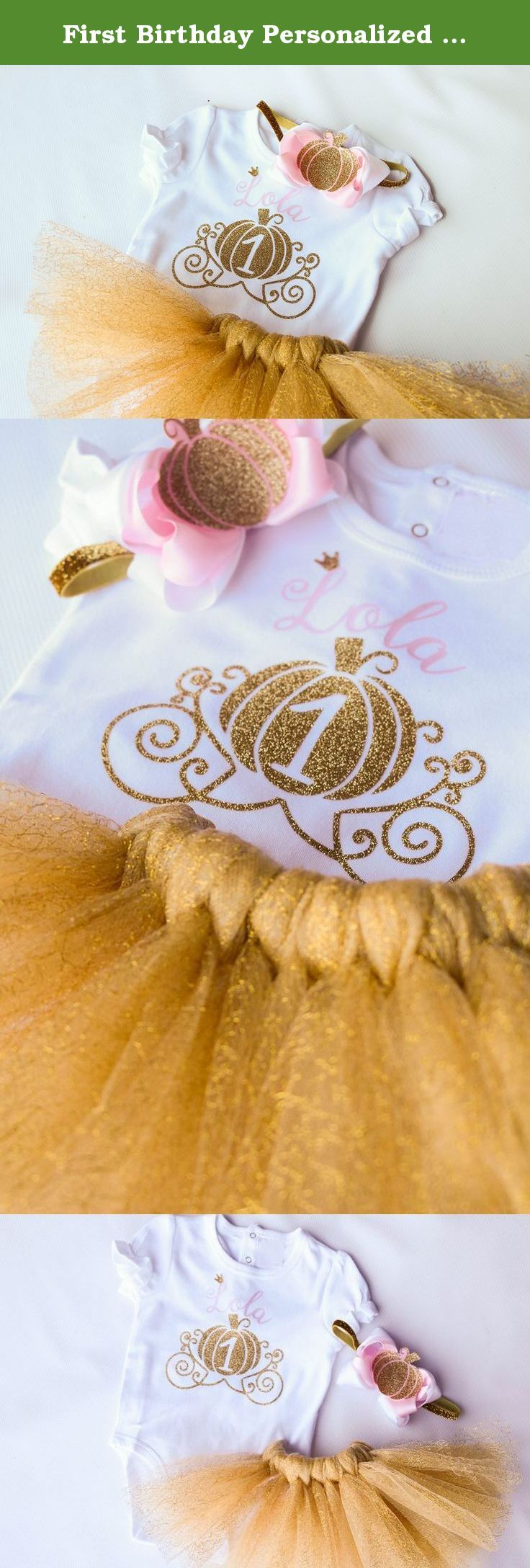 First Birthday Personalized Pumpkin Girl Outfit in Pink and Gold. First birthday 3 piece coordinating pink and glitter gold personalized baby girl pumpkin outfit set includes; tutu, bodysuit, and crown with a headband. Bodysuit - Super girly look in a bodysuit style! Thick and soft, we don't skimp on quality on these bodysuits, fit true to size and are adorned with modern fun script font and personalized with shiniest no shed glitter. Tutu - Full, two tone, pink and gold tutu features…