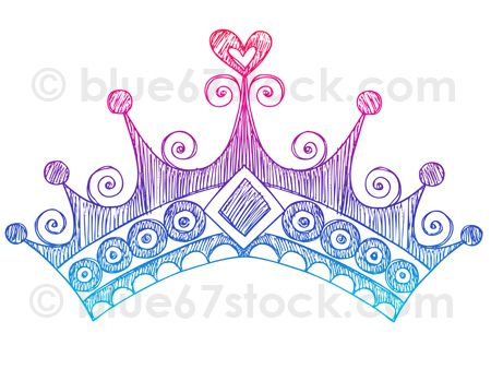 Hand-Drawn Sketchy Princess Tiara Crown Doodle Drawing Vector Illustration by blue67design