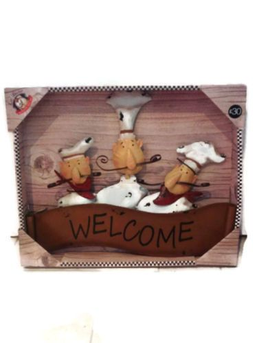 Welcome French Chef Style Metal Kitchen Wall Art Hanging