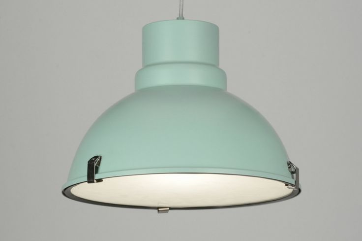 hanglamp 71837: modern, retro, industrie, look, glas, mat glas, metaal, groen, rond ...