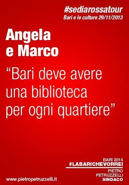 """Angela e Marco: """"Bari deve avere una biblioteca per ogni quartiere"""" #labarichevorrei http://ht.ly/rYBwn"""