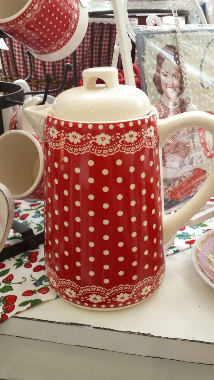 Red Kitchen Accessories Gingham Dots Polka White Cottage And Country Cottages Teapot Le Valley