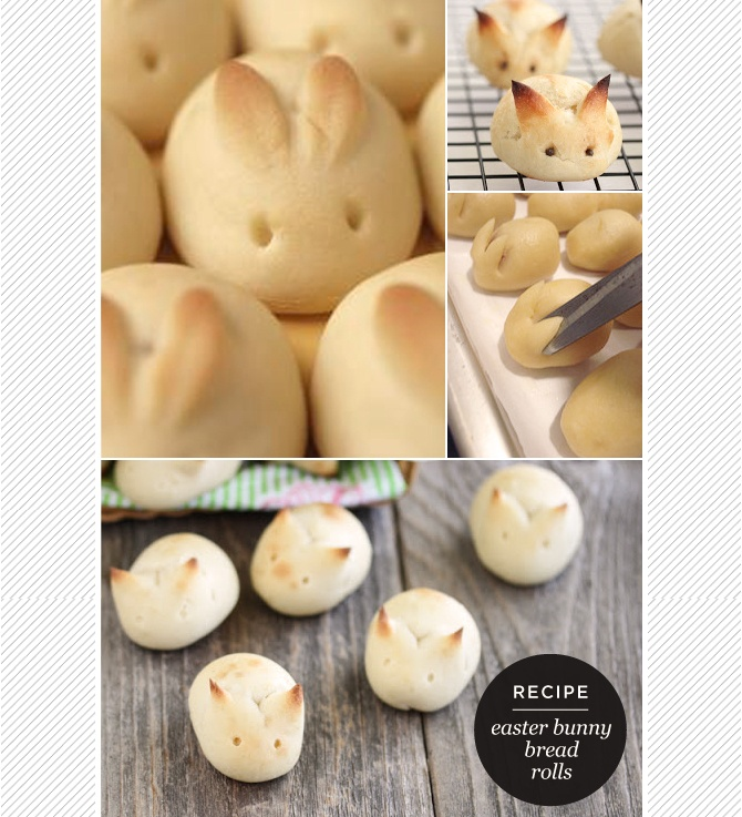 DIY: Easter bunny bread rolls.  I made these using my family recipe for dark buns.  Easy and cute.  This is food with a face I can eat.