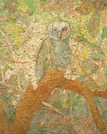 "Painter and collagist Matthew Cusick creates art using maps, atlases, encyclopedias and school textbooks. (""Patriarch"", 2006)"