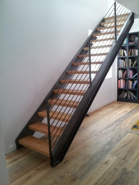 Modern Steel Stringer Stair Three Inch Douglas Fir Treads