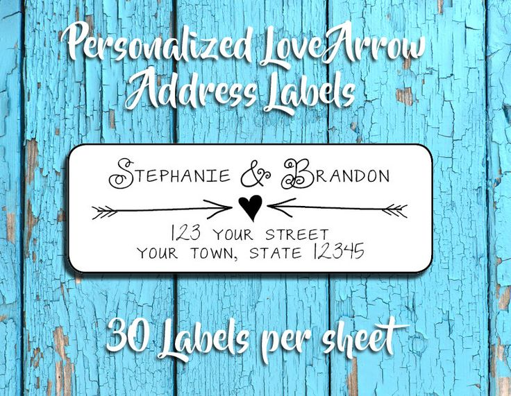 ARROWS and HEART Address Labels, Personalized Return Address Labels, Wedding, Newlyweds