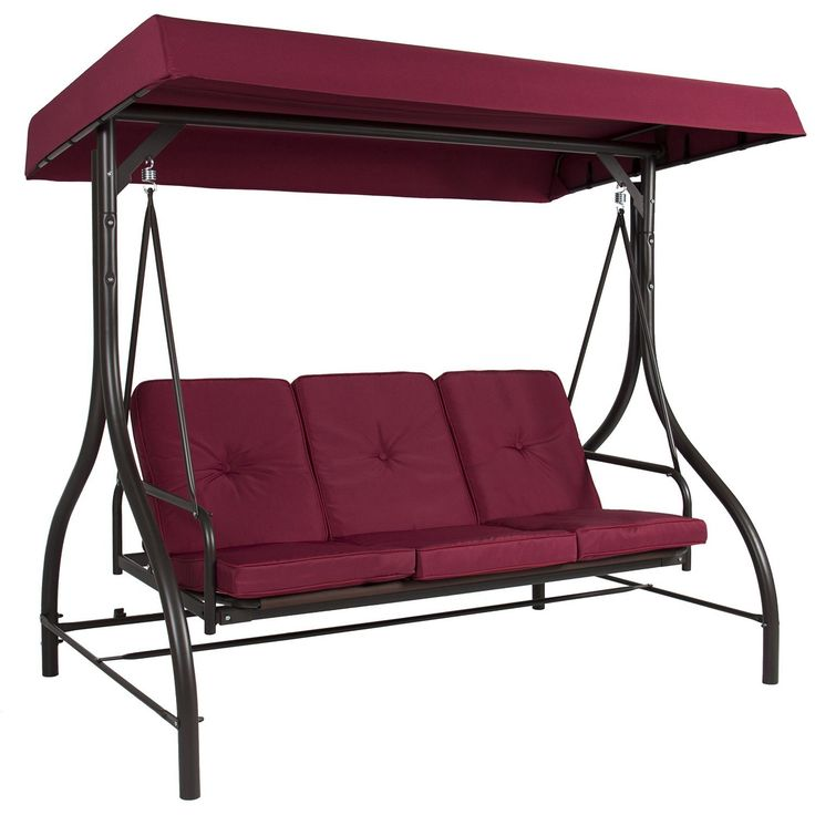Product Description Color:Brown, Burgundy, Tan Best Choice Products presents this brand new 3 Cushion Canopy Swing. This canopy swing seats up to three people comfortably. This item is low-maintenance